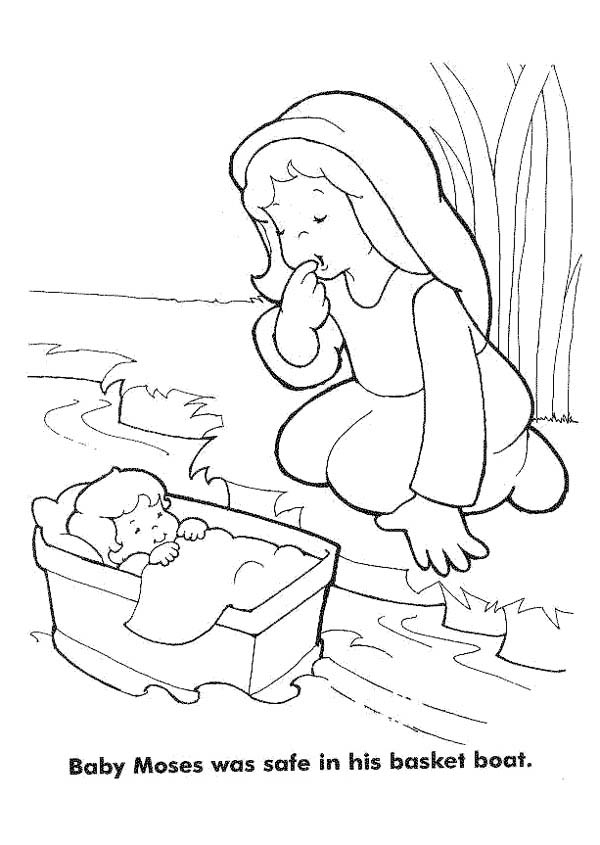 Moses, : Baby Moses was Safe in His Basket Boat Coloring Page