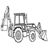 Digger, Backhoe Loader In Digger Coloring Page: Backhoe Loader in Digger Coloring Page