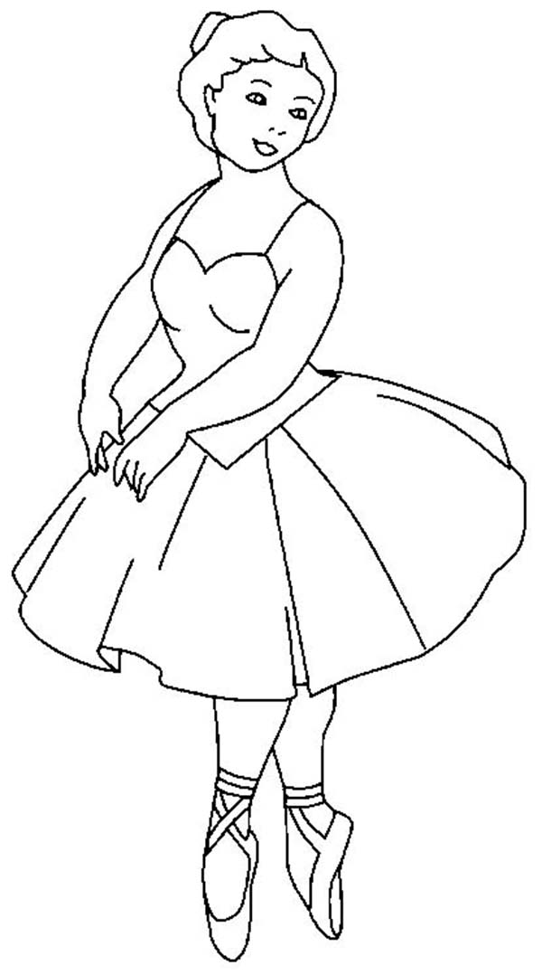 Ballerina, : Ballerina Balancing on the Tips of Toes Coloring Page
