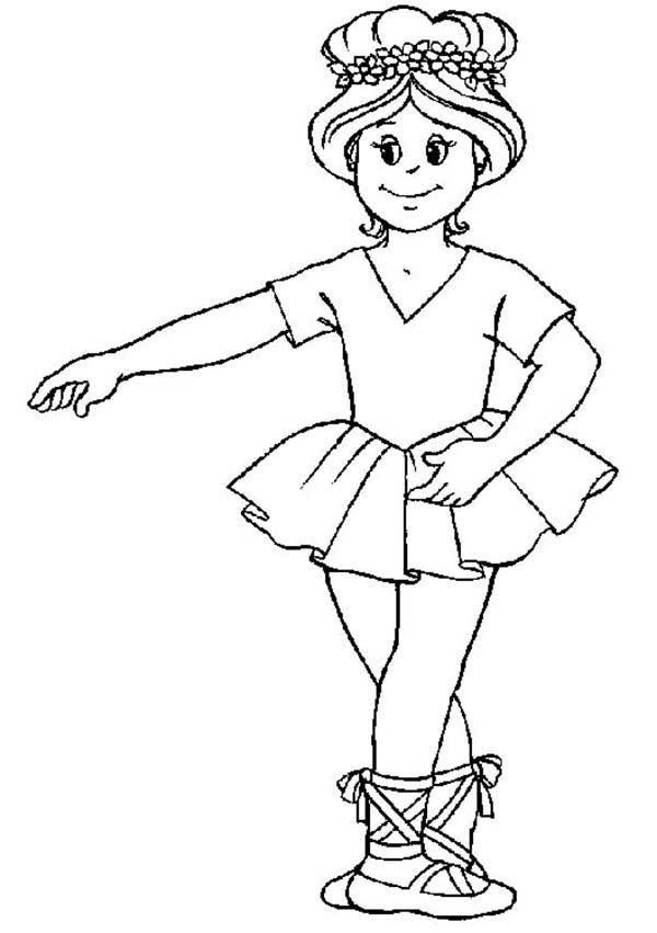 Ballerina, : Ballerina Basic Position Coloring Page
