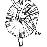 Ballerina, Ballerina Dancing For Ballet Performance Coloring Page: Ballerina Dancing for Ballet Performance Coloring Page