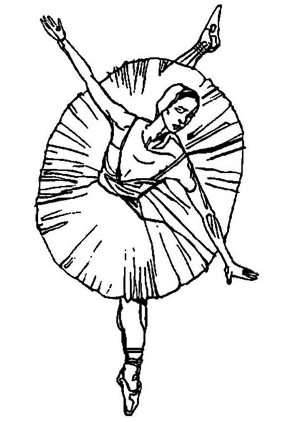 Ballerina, : Ballerina Dancing for Ballet Performance Coloring Page