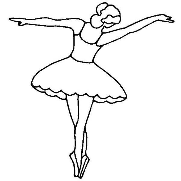 Ballerina, : Ballerina Doing Tip Toe Coloring Page