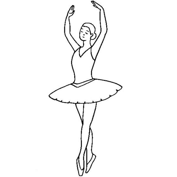 Ballerina, : Ballerina Fifth Position Coloring Page