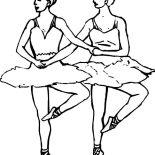 Ballerina, Ballerina Synchronize Ballet Coloring Page: Ballerina Synchronize Ballet Coloring Page