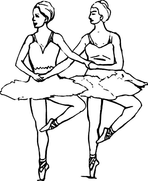 Ballerina, : Ballerina Synchronize Ballet Coloring Page