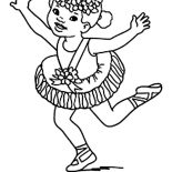 Ballerina, Ballerina Wearing Flower Crown Coloring Page: Ballerina Wearing Flower Crown Coloring Page