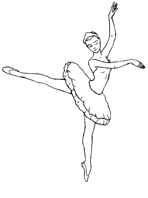 Ballerina, : Ballerina is Ballet Dancer Coloring Page