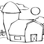 Barn, Barn Beside A Silo Coloring Page: Barn Beside a Silo Coloring Page