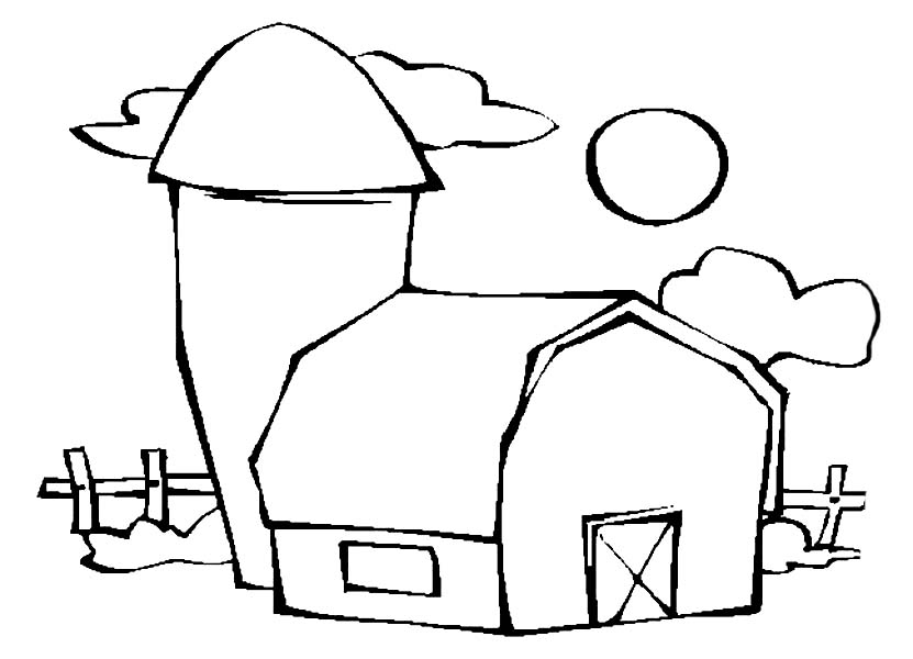 Barn, : Barn Beside a Silo Coloring Page