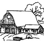 Barn, Barn House Covered With Snow Coloring Page: Barn House Covered with Snow Coloring Page