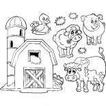Barn, Barn And Livestock Picture Coloring Page: Barn and Livestock Picture Coloring Page