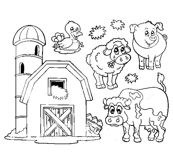 Barn And Livestock Picture Coloring Page : Color Luna