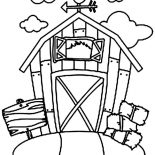 Barn, Barn And Stack Of Rice Straw Coloring Page: Barn and Stack of Rice Straw Coloring Page