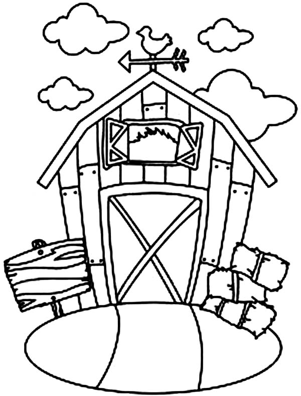 Barn, : Barn and Stack of Rice Straw Coloring Page