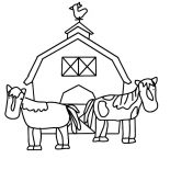 Barn, Barn And Two Working Horse Coloring Page: Barn and Two Working Horse Coloring Page