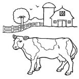 Barn, Barn And A Milk Cow Coloring Page: Barn and a Milk Cow Coloring Page