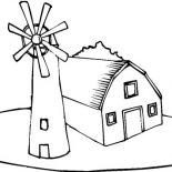 Barn, Barn And A Windmill Coloring Page: Barn and a Windmill Coloring Page