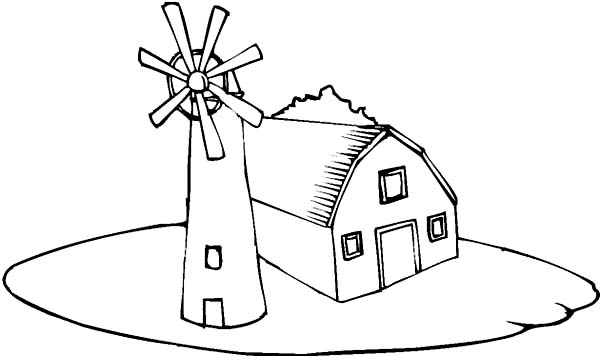 Barn, : Barn and a Windmill Coloring Page