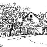 Barn, Barn In Winter Season Coloring Page: Barn in Winter Season Coloring Page