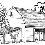 Barn, Barn With Dead Tree Coloring Page: Barn with Dead Tree Coloring Page