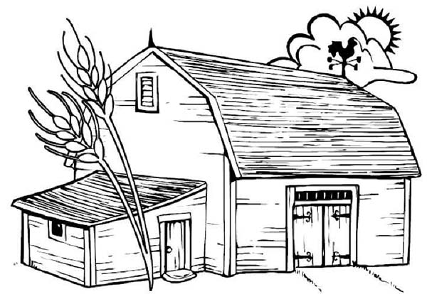Barn, : Barn with Dead Tree Coloring Page