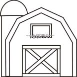 Barn, Barn With Silo Coloring Page: Barn with Silo Coloring Page