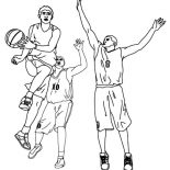 NBA, Basketball Player Assist In NBA Coloring Page: Basketball Player Assist in NBA Coloring Page