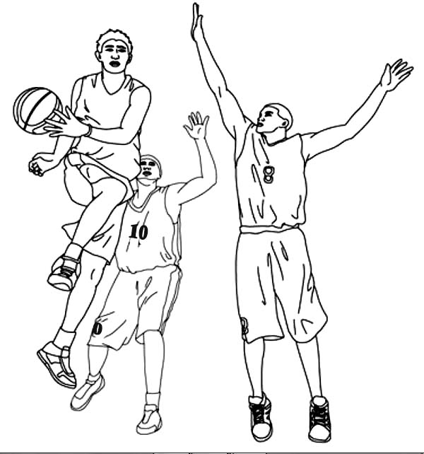 NBA, : Basketball Player Assist in NBA Coloring Page