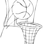 NBA, Basketball And Basket In NBA Coloring Page: Basketball and Basket in NBA Coloring Page