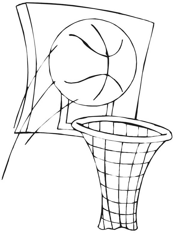 NBA, : Basketball and Basket in NBA Coloring Page