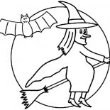 Bats, Bats Flying With Witch In The Night Coloring Page: Bats Flying with Witch in the Night Coloring Page