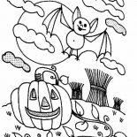 Bats, Bats And Halloween Pumpkin Coloring Page: Bats and Halloween Pumpkin Coloring Page
