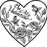 Hearts & Roses, Be My Valentine Hearts And Roses Coloring Page: Be My Valentine Hearts and Roses Coloring Page