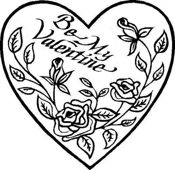 Hearts & Roses, : Be My Valentine Hearts and Roses Coloring Page