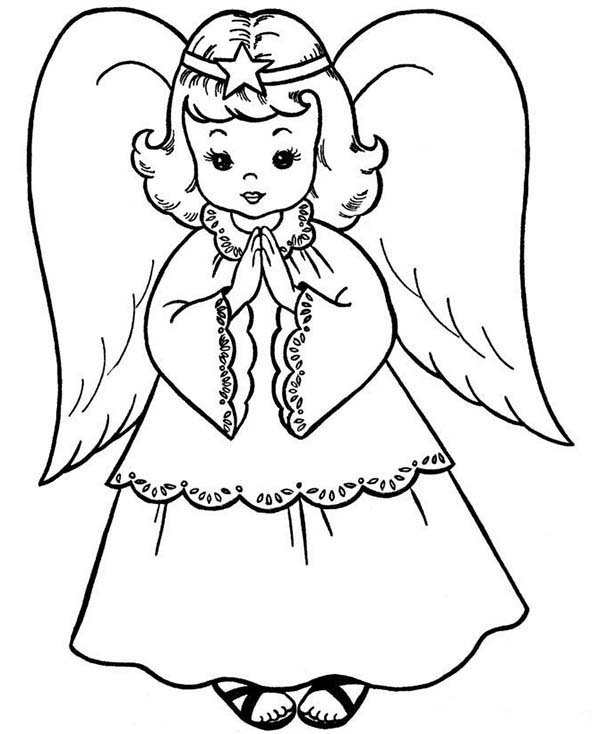 Angels, : Beautiful Angels Coloring Page