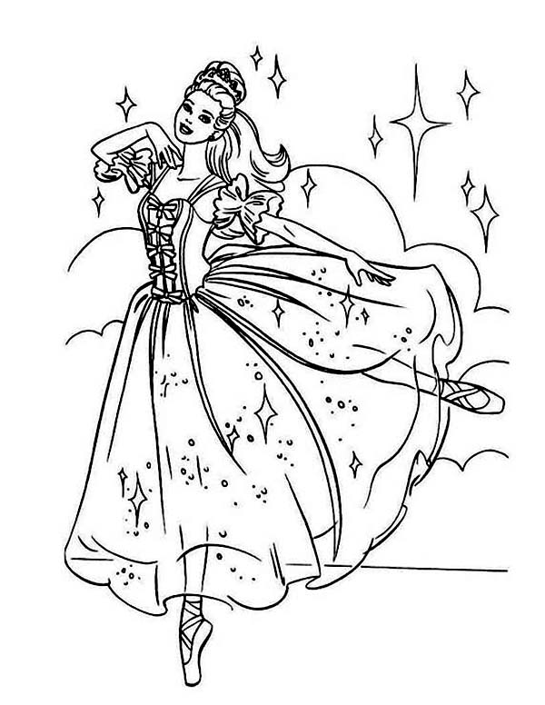 Ballerina, : Beautiful Barbie Ballerina Coloring Page