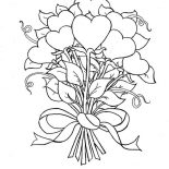 Hearts & Roses, Beautiful Bouquet Of Hearts And Roses Coloring Page: Beautiful Bouquet of Hearts and Roses Coloring Page