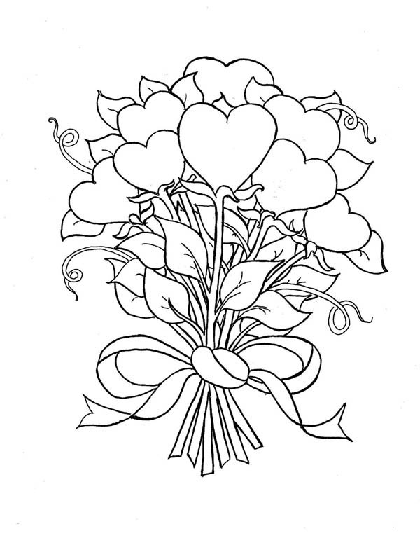 Hearts & Roses, : Beautiful Bouquet of Hearts and Roses Coloring Page