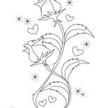 Hearts & Roses, Beautiful Drawing Of Hearts And Roses Coloring Page: Beautiful Drawing of Hearts and Roses Coloring Page