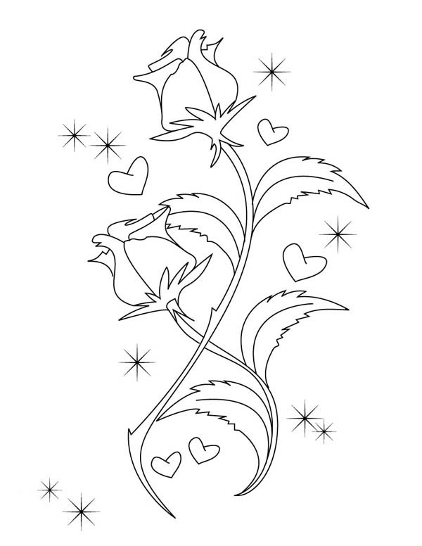 Hearts & Roses, : Beautiful Drawing of Hearts and Roses Coloring Page