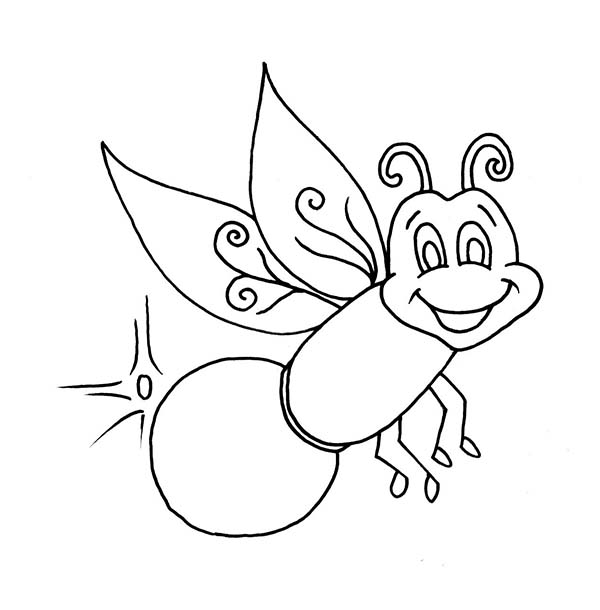 Firefly, : Beautiful Firefly Coloring Page