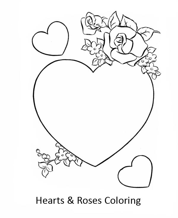 Hearts & Roses, : Beautiful Hearts and Roses Coloring Page
