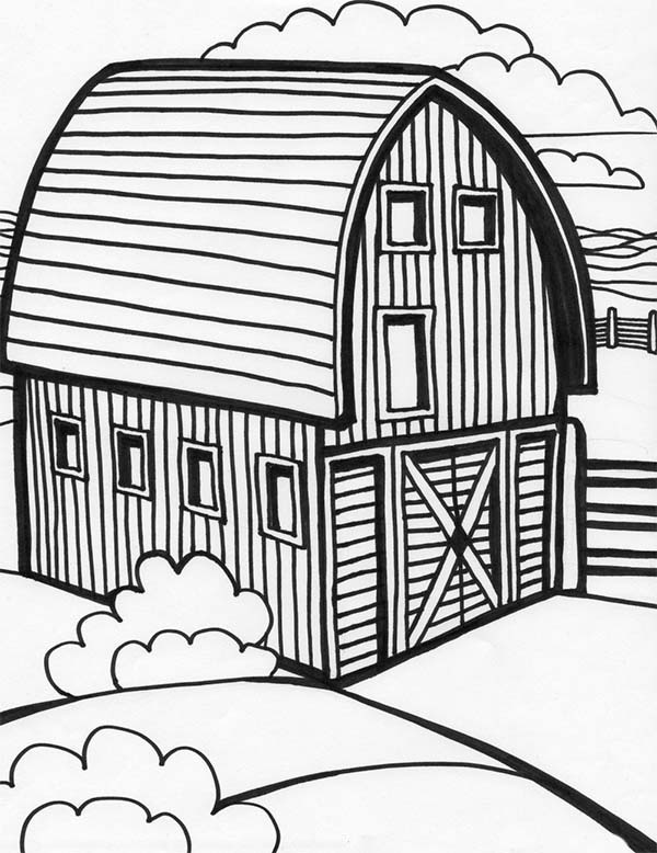 Barn, : Beautiful Picture of Farming Barn Coloring Page
