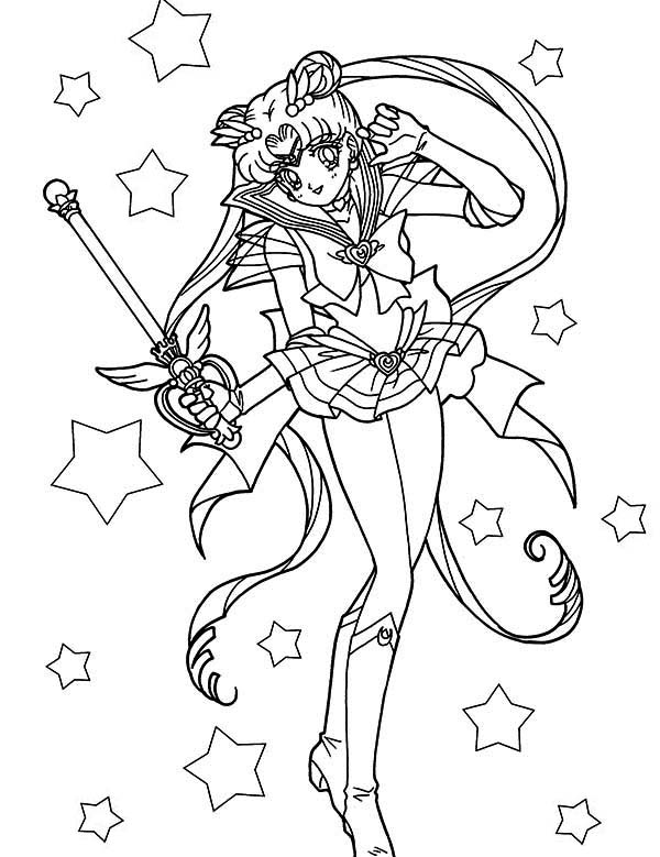 Sailor Moon, : Beautiful Sailor Moon Usagi Tsukino Coloring Page