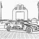 Police Car, Bedford Police Car Coloring Page: Bedford Police Car Coloring Page