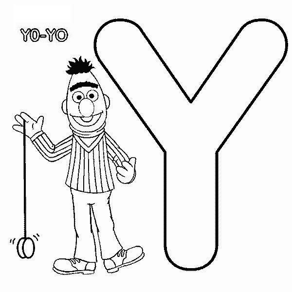 Letter Y Coloring Pages: Bert Playing With Yoyo In Sesame Street Coloring Page
