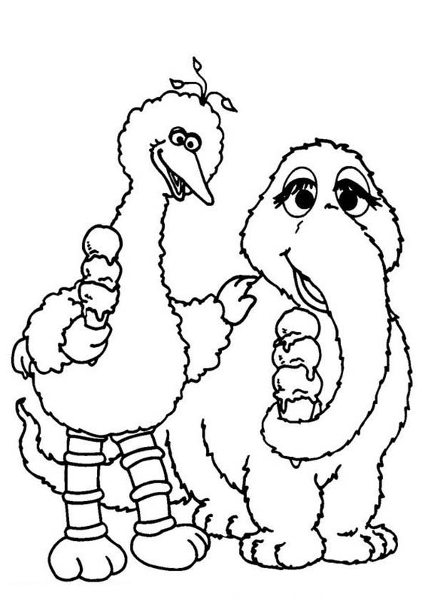 Sesame Street, : Big Bird and Mammoth Eating Ice Cream in Sesame Street Coloring Page