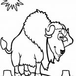 Bison, Bison Standing At Noon Coloring Page: Bison Standing at Noon Coloring Page