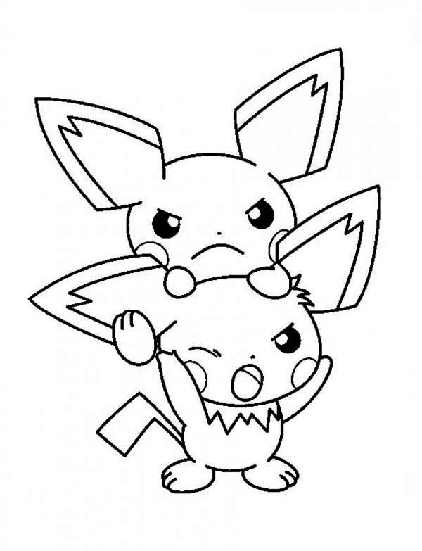 Pichu, : Bothered Pichu Coloring Page